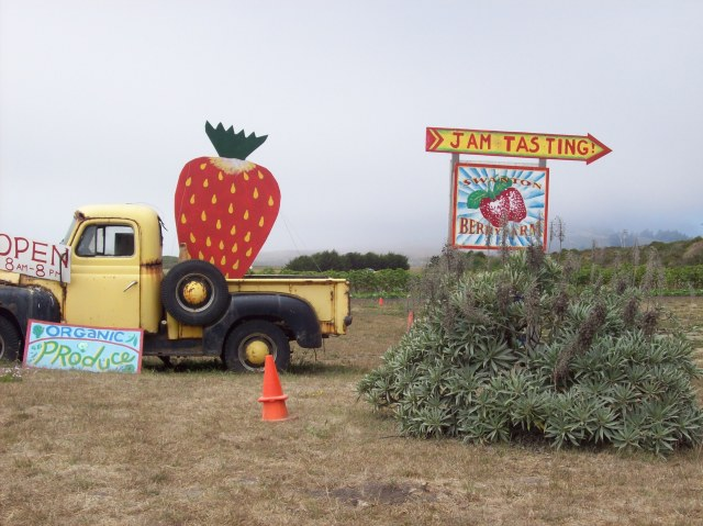 truck sign at entrance to farm