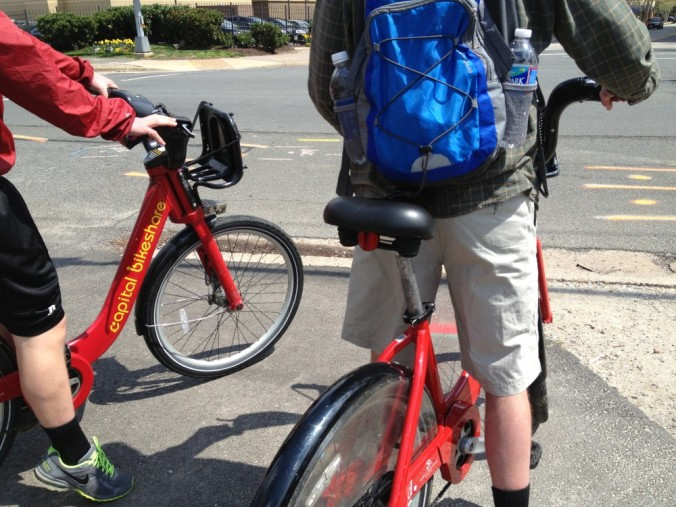 Red bikes with yellow writing.