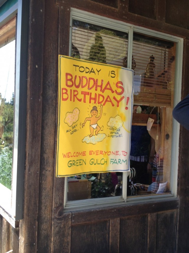 Yellow poster for Buddha's Birthday