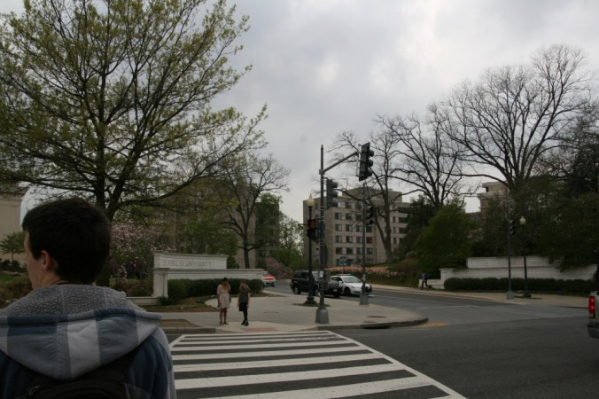 crosswalk to American campus and sign