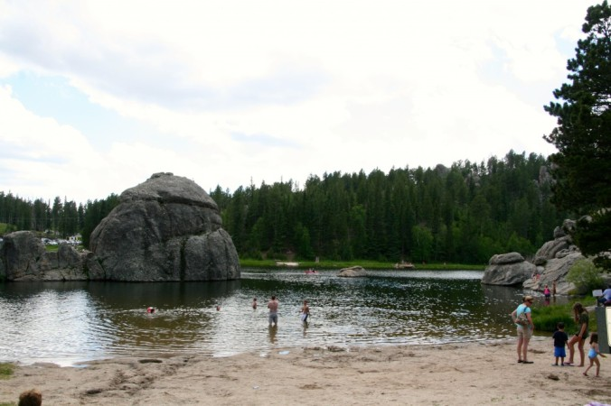 swimming at Sylvan Lake