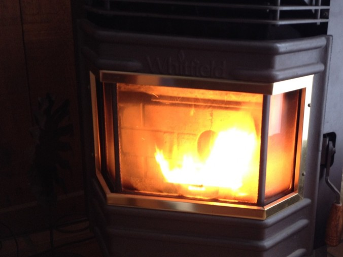 fire in pellet stove